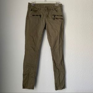 Blank NYC Army Green Jeans Moto Zippers Skinny